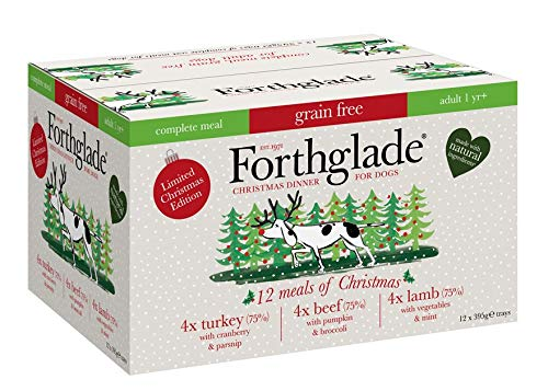 Forthglade Christmas Complete Natural Wet Dog Food – Grain Free Variety Pack (12 x 395g) Trays – Turkey, Beef & Lamb