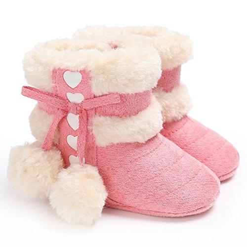 TININNA Baby Kleinkind Winter Warm Schnee Stiefel Soft Anti Slip Sohle Pom Pom Stiefel Plüsch Säugling Prewalker Krippe Schuh für 0-6 Monate Baby Mädchen Jungen Rose rot
