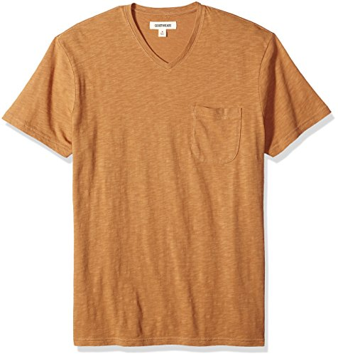 Goodthreads Men's Lightweight Slub V-Neck Pocket T-Shirt, tan, XX-Large