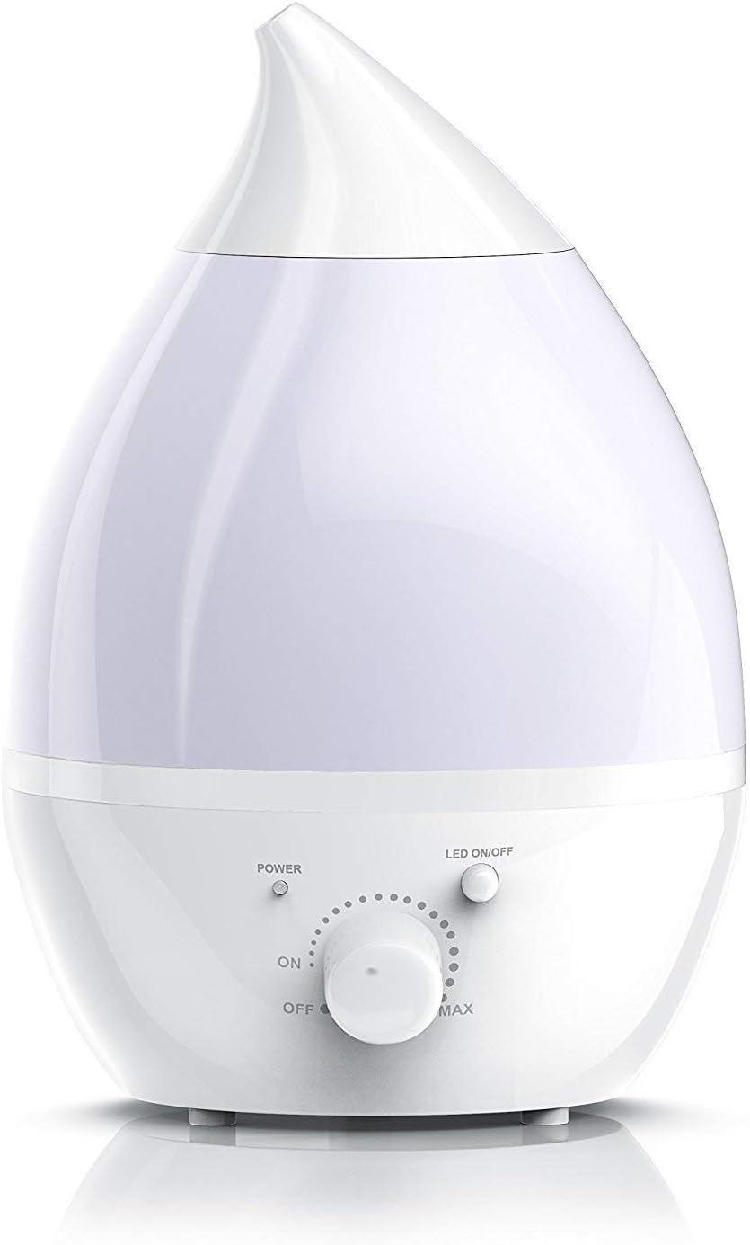 Pritech - Humidificador Ultrasónico de 1,5L y Difusor de Aroma, No Ruido Ultrasilencioso y Autoapagado en Forma Lágrima, 7-Color LED, Ideal para Dormitorio, Hogar, Oficina, Baño, Bebé
