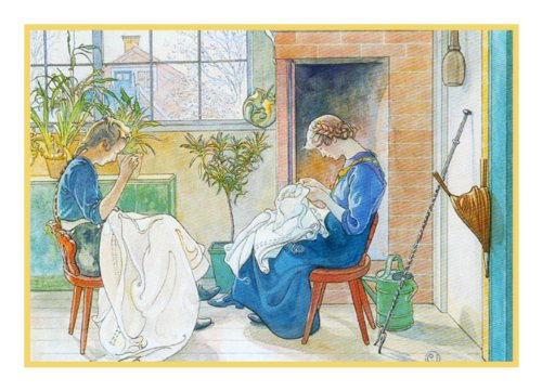 Swedish Artist Carl Larsson Two Girls sewing in the Garden Counted Cross Stitch Chart from Watercolor (Garden Stitch Chart Cross)
