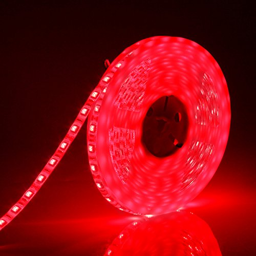 SUPERNIGHT DC12V 5M 16.4Ft Red 5050SMD 300LED Waterproof Flexible LED Light Strip lamp White Tape Version by SUPERNIGHT