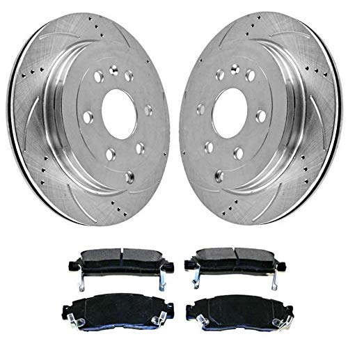 Prime Choice Auto Parts BRKPKG003429 [Rear set] 3 Pieces - 1 Semimet Disc Pad 2 Silver Drilled And Slotted Performance Brake Rotors 2 Piece Drilled Discs