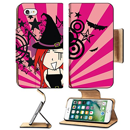 Luxlady Premium Apple iPhone 7 Flip Pu Leather Wallet Case IMAGE ID 30713248 cute witch girl cartoon halloween background in vector format very easy to edit (Halloween Clipart Witch)