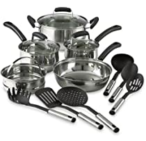14 Piece Pots And Pans Stainless Steel Nonstick Kitchen Cookware Set Cooking