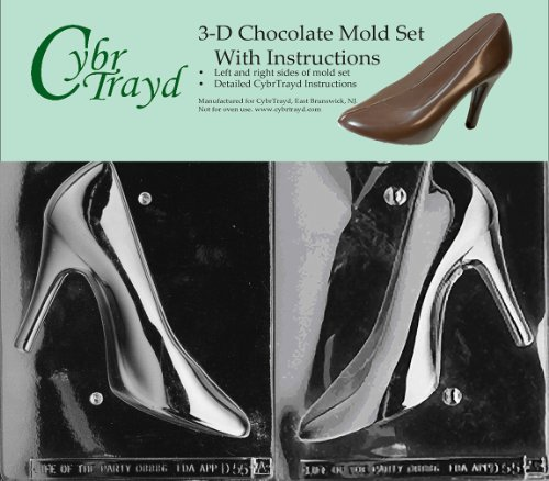 Cybrtrayd D055AB High Heel Shoe Chocolate Candy Mold Bundle with 2 Molds and Exclusive Cybrtrayd Copyrighted 3D Chocolate Molding Instructions (3d Chocolate Candy Mold)