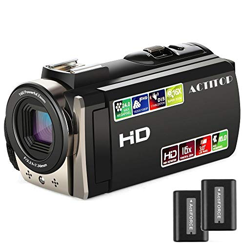 Video Camcorder,ACTITOP FHD 1080P Camcorder 24MP 16x Digital Zoom Camcorder Camera Support LED Light,Wide Angle Lens Handy Camera