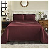 Superior 100% Cotton Basket Weave Bedspread with Shams, All-Season Premium Cotton Matelassé Jacquard Bedding, Quilted-look Geometric Basket Pattern - King, Garnet