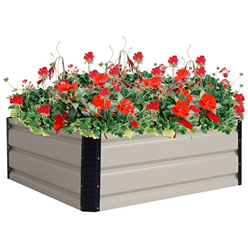 Globe House Products GHP 31.5''x31.5''x11.8'' Steel Flower Plant Vegetable Raised Outdoor Yard Garden Bed by Globe House Products