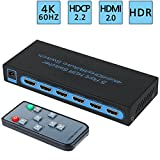 4K@60Hz HDMI Switch 5x1 ,FiveHome 5 Port HDMI Switcher with IR Wireless Remote Support Auto Switch,HDCP 2.2,HDR,Full HD/3D