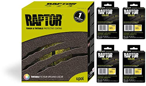 Raptor UP5066 Truck Bed Liner 1US Gallon + 4 Yellow Colors Bundle
