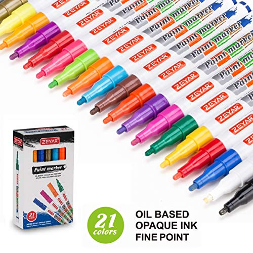 ZEYAR Paint Pens, Expert of Rock Painting, Oil-Based, Fine Point, 21 Colors, Water and Fade Resistant, Odorless, Xylene Free, Metal Penholder, Professional Paint Marker Manufacturer