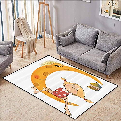 Bath Rug Slip Teen Girls Decor Little Girl Sitting Barefoot on Moon with Eye and Lamp Childhood Mystery Theme Cartoon Orange Suitable for Outdoor and Indoor use W6'5 xL4'6