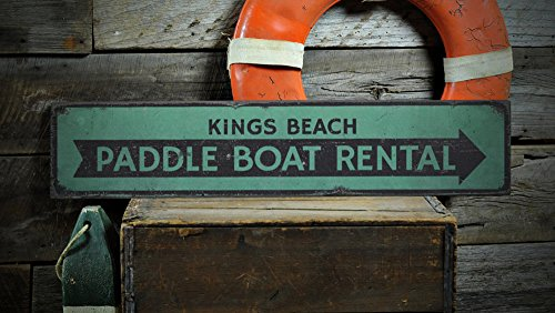 Paddle Boat Rental Wood Sign, Custom Beach Location Sign, Distressed Beach Arrow Decor - Rustic Hand Made Vintage Wooden Sign - 7.25 x 36 Inches