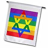 Florene - Jewish Themes - Print of Jewish Star Over Gay Pride Colors - 12 x 18 inch Garden Flag (fl_204090_1)