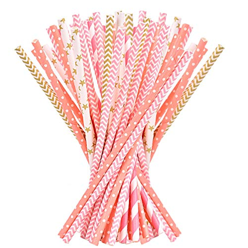 Paper Straws - 200-Pack Pink, Gold, Peach Colored Fun Drinking Straws with Coral Stripes, Polka Dot, Star Straws for Party, Birthday, Wedding, Bridal Shower, Baby Shower Supplies and Decorations