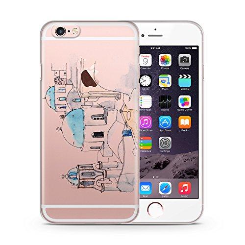 Imerovigli iPhone 6 & 6S TRANSPARENT SLIM Hülle Hülle Cover Case Schutz Schale Griechenland Wasserfarben Greece Hellas