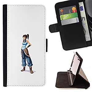 KingStore / Leather Etui en cuir / Samsung Galaxy S6 EDGE / Azul Guerrero chica