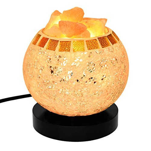 Himalayan Salt Lamp, Natural Crystal Salt Lamp Salt Chunks in Glass Bowl with Wood Base, Bulb and Dimmer Control for Christmas Gift and Home Decorations. [energy class a+++] by COOWOO (Image #1)
