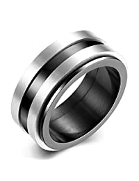 Focus Jewel Titanium Steel Simple Three Stripes Men's Ring Silver & Black Minimalist Design for Gentlemen