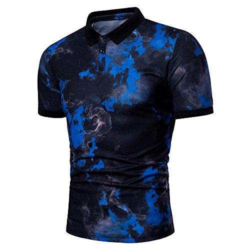 (QueenMMFashion Men's Summer Casual Lapel Polo Print Neck Pullover T-Shirt Top Blouse Blue)
