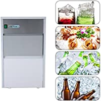 Commercial Ice Maker ixaer Stainless Steel Automatic Ice Maker Restaurant Portable Ice Cube Machine for Restaurant(55LB 110V)
