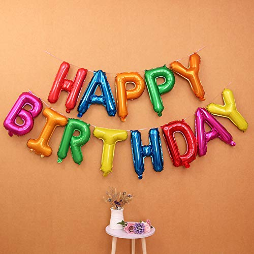 Self Inflating Happy Birthday Balloon Banner Bunting 16 inch Letters Foil (Colorful)