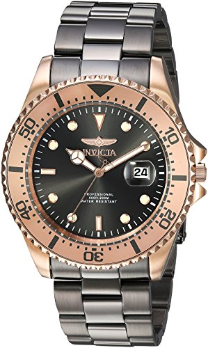 Invicta Men's 'Pro Diver' Quartz Gold and Stainless Steel Diving Watch, Color:Grey (Model: ()