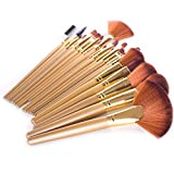 DE'LANCI Pro 21Pcs Golden Synthetic Cosmetic Foundation Blending Kabuki Makeup Brush Set Face Blush Concealer Eyeshadow Contouring Make Up Brushes Kit Tools with Leather Brush Bag