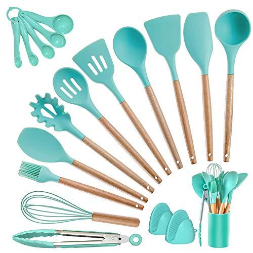 Kitchen Utensils Set Silicone Cooking Utensils – SZBOB Heat Resistant Kitchen Tools Wooden Handle Spoons Kitchen Utensil…