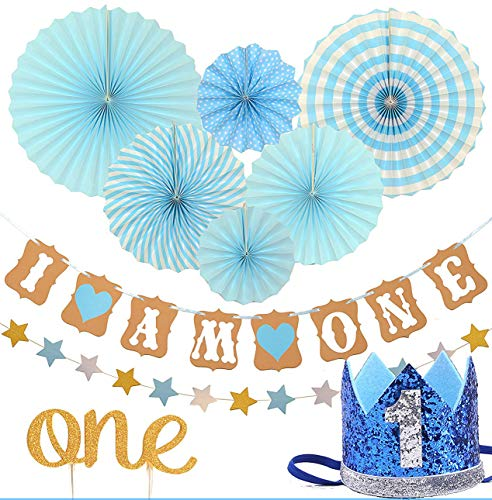 FIRST BIRTHDAY DECORATION SET FOR BOY- 1st Baby Boy Birthday Party, Blue Hat Crown, Circle Dots Paper Garland, Cake Topper -