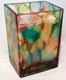 20 ounce Hand Painted Glass Rectangle Soy Candle in southwest colors