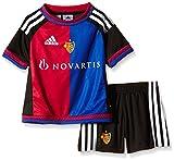 adidas children's FC Basel home mini gear, Children's, Trainingsanzug FC Basel Home Mini Kit, Top:Black/White/Bold Red/Bold Blue Bottom:Black/White, 104 (EU)