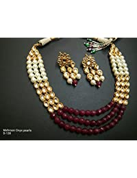 Bollywood Bridal Necklace Jewelry Set Indian Traditional Maroon Pearl Kundan Sets