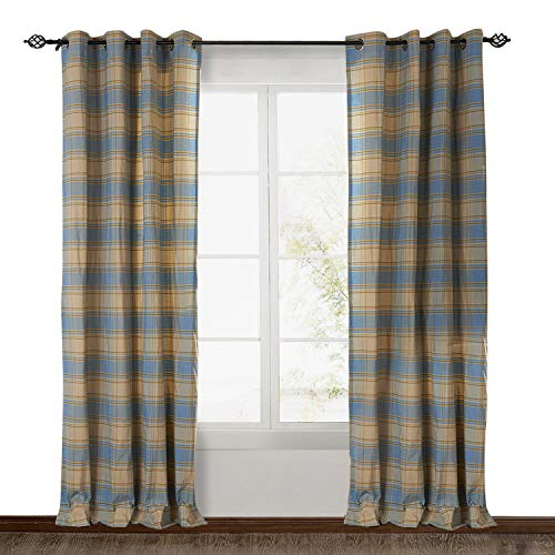 (ChadMade Eco-friendly Premium Country Classic Check Plaid Cotton Nickel Grommet Eyelet Window Curtain Panel Drapes (1 Panel) Sky Blue 50Wx63L Inch)
