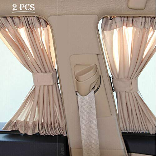Fochutech Car Window Curtain, Breathable car Sun Shade/Car Window Cover, 2PCS Side Window Sunshade,Block UV Ray & Privacy Protection (Beige, 50S)