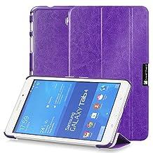 GreatShield® Samsung Galaxy Tab 4 8.0 [SLEEK] PU Leather Smart Cover Slim Hard Shell Case (Built-In Kickstand) for Galaxy Tab 4 8.0 inch Tablet (Purple)