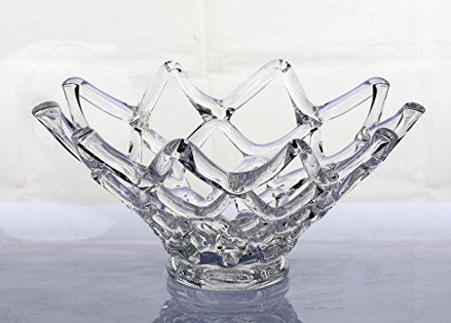 lown Glass Murano Art Style Web Bowl Vase Sculpture Clear ()