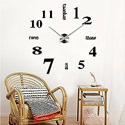 Adarl 3D Mirror Surface Sticker Modern DIY Large Wall Clock Home Room Decor