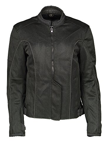 - M Boss Apparel BOS22702 Ladies Black Mesh Racer Jacket with Full Armor - X-Large
