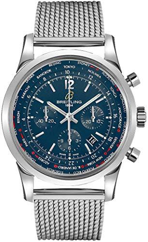 Breitling Transocean Unitime Pilot Blue Dial Steel Men's Watch AB0510U9/C879-152A