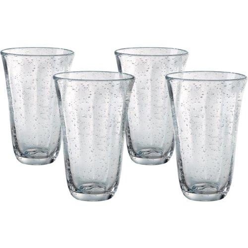 Artland Savannah Clear Bubble Glass 18 Ounce Highball Tumbler, Set of 4 (Bubble Drinking Glasses)