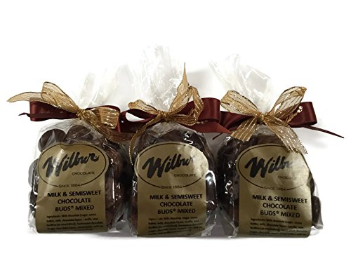 Holiday Set Wilbur Buds Milk & Semisweet Dark Chocolate Buds Mixed, 4 Oz. Bags [Set of 3] (Wilbur Chocolate Buds compare prices)