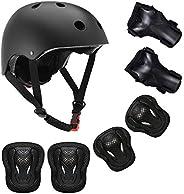 Kids Bike Helmet Toddler Helmet 3-13 Years Boy Girl Adjustable Child Cycling Helmet with Knee Pads Elbow Pads