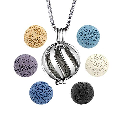 Essential Oil Diffuser Necklace Silver Plated Box Chain Twisted Ball Aromatherapy Locket Pendant with 6 Lava Stone Balls 0.63' (Type B)