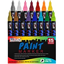 Water Based Premium Paint Pen Markers from U.S. Art Supply - 15 Color Set of Extra Fine Point Tips - Permanent Ink - Works on Most Surfaces Glass, Wood, Metal, Rubber, Rocks, Stone, Arts & Crafts