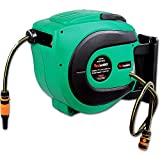 ReelWorks Water Hose Reel Retractable Elite 1/2' Inch x 50' Feet Long Premium Commercial Flex PVC Hose Heavy Duty Spring Driven Industrial with PVC Nozzle and Quick Disconnects for Garden and Lawn