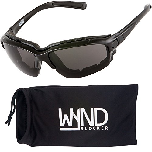 WYND Blocker Motorcycle Riding Glasses Extreme Sports Wrap Sunglasses, Black, Smoke