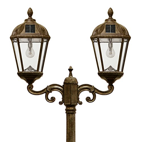 Gama Sonic GS-98B-D-WB Royal Solar Powered Lamp Post with GS Solar Light Bulb Cast Aluminum Double Lamp, Weathered Bronze, Large
