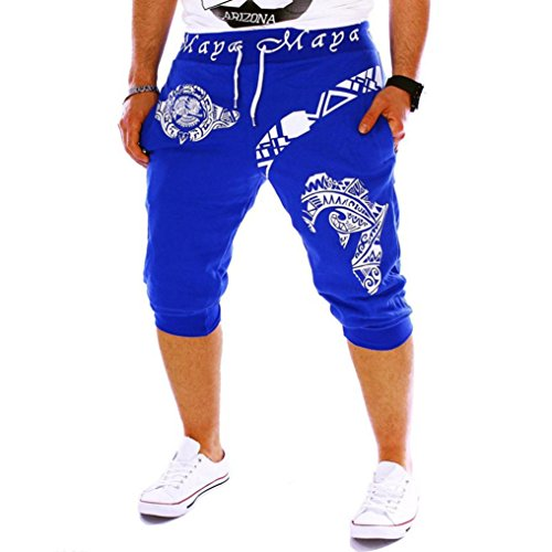Men's Sport Pants, Fashion Printing Shorts Drawstring Elastic Waist Casual Loose Jogger Trouser (XXL, Blue B)